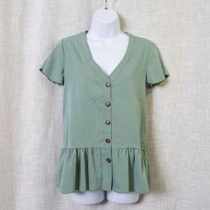Sage Green Peplum Tea Top